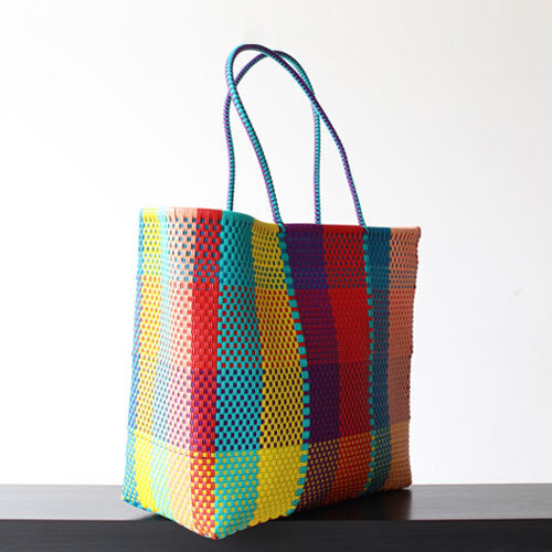 Colorful Squares Handwoven Tote bag